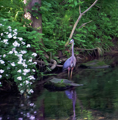 The Great Blue Heron - Impressionism Art Print