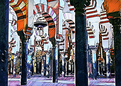 Painting - The Great Mosque Of Cordoba - 01 by Andrea Mazzocchetti