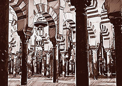 Painting - The Great Mosque Of Cordoba - 02 by Andrea Mazzocchetti