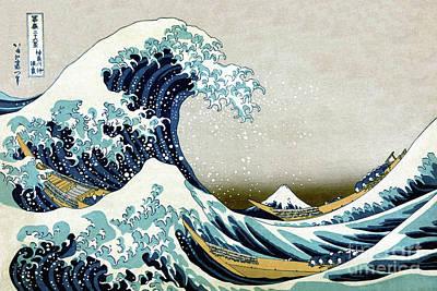 Digital Art - The Great Wave Off Kanagawa by Aapshop