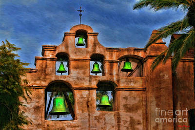 Photograph - The Green Bells Of Mission San Gabriel San Gabriel Ca  by Blake Richards