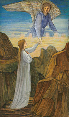 Drawing - The Guardian Angel by Edward Burne-Jones