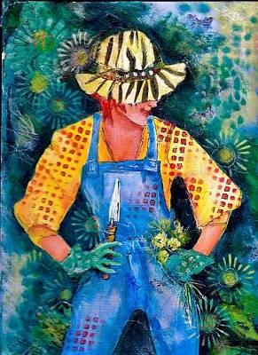 Mixed Media - The Happy Gardener by Betty Turner