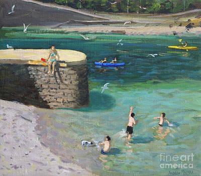 Cornish Wall Art - Painting - The Harbour, Looe by Andrew Macara