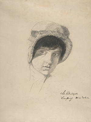 Drawing - The Head Of A Young Woman Wearing A Bonnet by Max Klinger