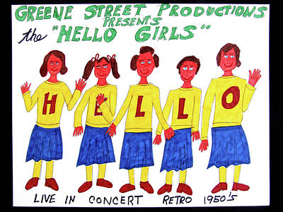 Drawing - The Hello Girls by Barb Moran