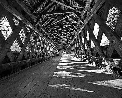 Photograph - The Henniker Covered Bridge Henniker Nh New Hampshire In Autumn Inside Black And White by Toby McGuire