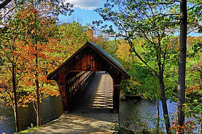 Photograph - The Henniker Covered Bridge Henniker Nh New Hampshire In Autumn Shadows by Toby McGuire