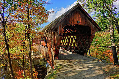 Photograph - The Henniker Covered Bridge Henniker Nh New Hampshire In Autumn by Toby McGuire