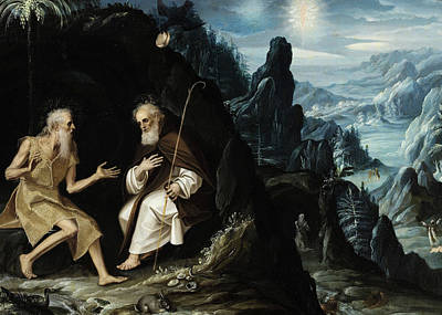 Christian Artwork Painting - The Hermits, Saint Paul And Saint Anthony by Baltazar de Echave Ibia