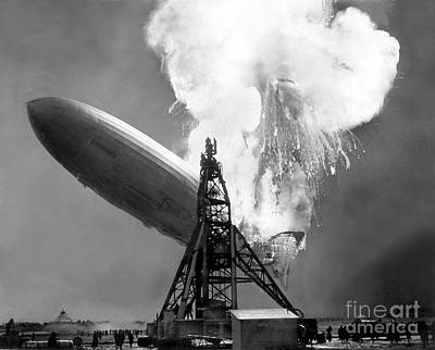 Photograph - The Hindenburg Explodes Into Flames At by New York Daily News Archive