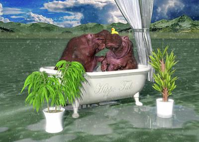 Surrealism Digital Art - The Hippo Tub by Betsy Knapp