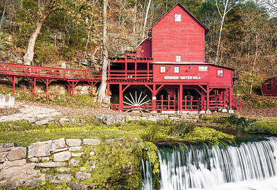 Photograph - The Hodgson Water Mill And Bryant Creek Waterfall - Dora Missouri by Gregory Ballos