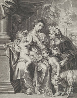 Drawing - The Holy Family With Elizabeth And The Infant Saint John The Baptist, The Virgin Nursing The Infant  by Rubens