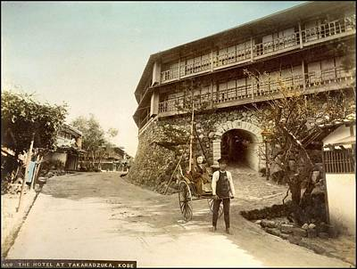 Painting - The Hotel At Takaradzuka In Kobe Handcolored Japanese Albumen Print From A Tourists Album Of The Ear by Celestial Images