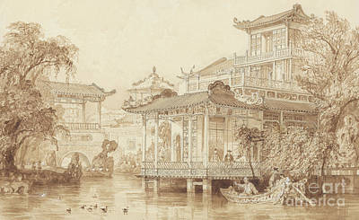 Drawing - The House Of A Merchant Near Canton by Thomas Allom