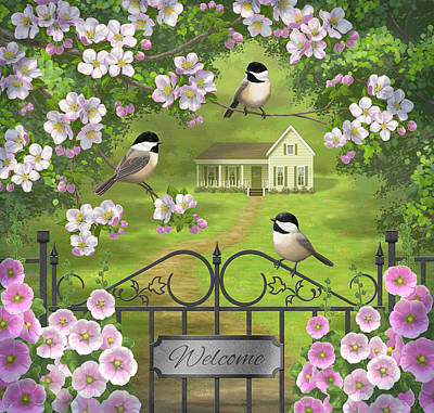 The Housewarming Party - Chickadee Birds Apple Blossoms Hollyhock Flowers Victorian Farmhouse Garden Original