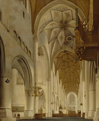 Painting - The Interior Of St Bavo's Church, Haarlem by Pieter Jansz Saenredam
