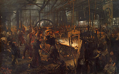 Painting - The Iron Rolling Mill  by Adolph Menzel