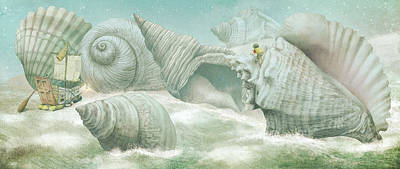 Drawing - The Island Of Giant Shells by Eric Fan