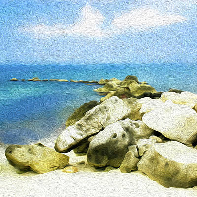 Digital Art - The Jetty at Seven Mile Beach, Grand Cayman - Square by Kenneth Montgomery