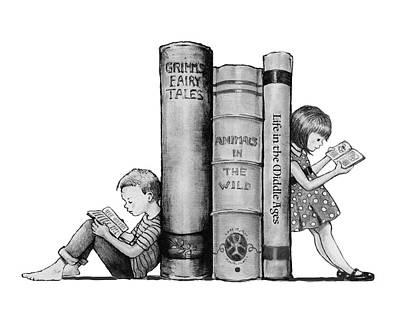 Drawings Royalty Free Images - The Joy of Reading Royalty-Free Image by Joyce Geleynse