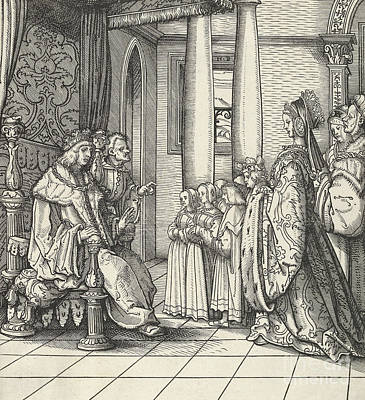 Drawing - The King Receiving His Daughter Margaret And The Children Of King Philip by Hans Burgkmair