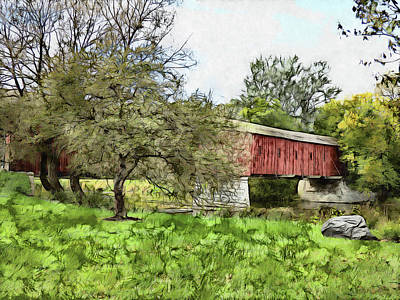 Digital Art - The Kissing Bridge by Leslie Montgomery
