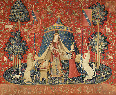 Animals Paintings - The Lady And The Unicorn by Vintage Art