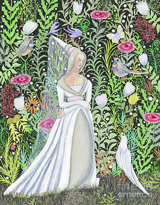 Painting - The Lady Vanity Takes A Break From Mirroring To Dream Of An Unusual Garden  by Lise Winne
