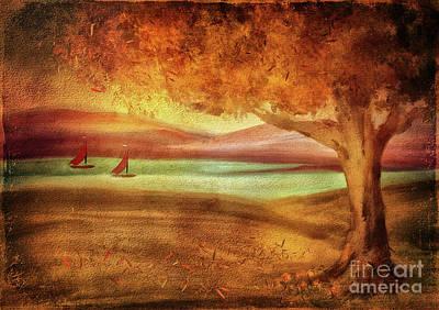 Digital Art - The Last Sail Of The Season  by Lois Bryan