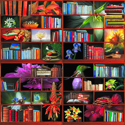 Digital Art - The Library The Flower Section Watercolor Painting by Debra and Dave Vanderlaan