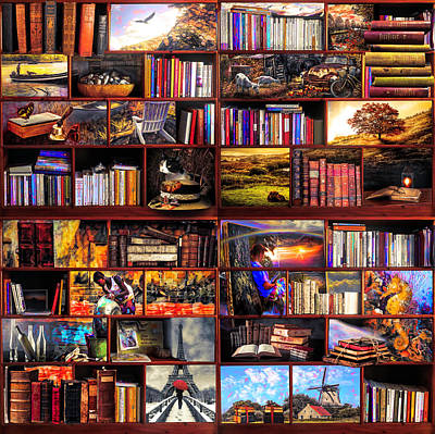 Digital Art - The Library The Golden Travel Section  by Debra and Dave Vanderlaan