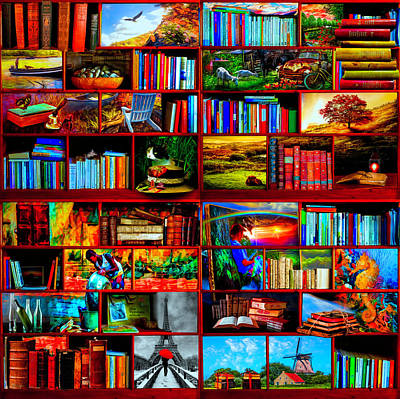Digital Art - The Library The Travel Section  by Debra and Dave Vanderlaan