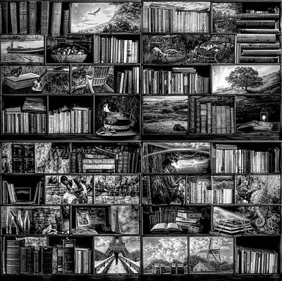 Photograph - The Library The Travel Section In Black And White by Debra and Dave Vanderlaan