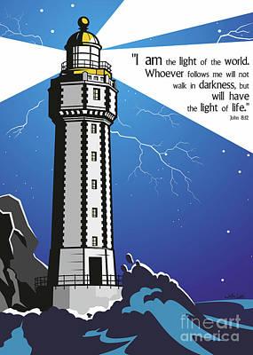 Bible Verse Wall Art - Digital Art - The Light Of The World by James Lee