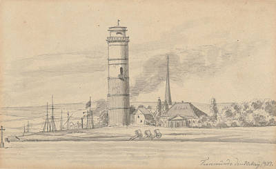 Drawing - The Lighthouse Of Travemunde Seen From The South by Martinus Rorbye
