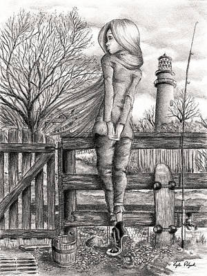 Drawing - The Lightkeeper's Daughter by Lyle Polyak