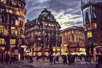 Paris Skyline Royalty Free Images - The Lights of Vienna Royalty-Free Image by Sarah Kirk