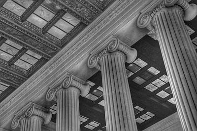 Photograph - The Lincoln Memorial Washington D. C. - Black And White Abstract Pillars Details 2 by Marianna Mills