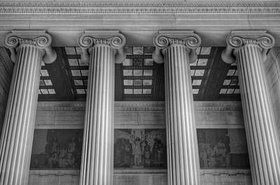 Photograph - The Lincoln Memorial Washington D. C. - Black And White Abstract Pillars Details 5 by Marianna Mills
