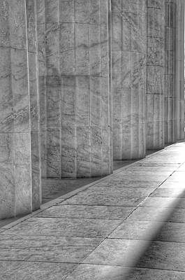 Photograph - The Lincoln Memorial Washington D. C. - Black And White Abstract Pillars Details 6 by Marianna Mills