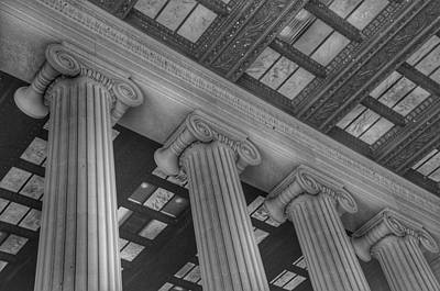 Politicians Royalty-Free and Rights-Managed Images - The Lincoln Memorial Washington D. C. - Black and White Abstract Pillars Details by Marianna Mills
