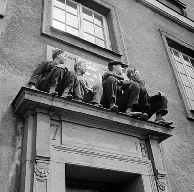 Painting - The Little Boys In The Picture Have Come Up With A Good Spot On The Side Door Of The Swedish Embassy by Celestial Images