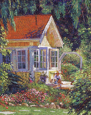 Painting - The Little Yellow Cottage by David Lloyd Glover