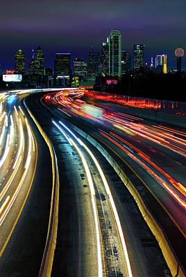 Photograph - The Long Road To Dallas - Dallas Skyline - Tom Landry Freeway by Jason Politte