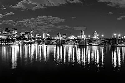 Photograph - The Longfellow Bridge Lit Up At Night Boston Ma Reflection Black And White by Toby McGuire