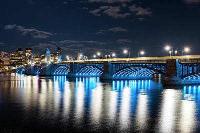 Photograph - The Longfellow Bridge Lit Up At Night Boston Ma by Toby McGuire