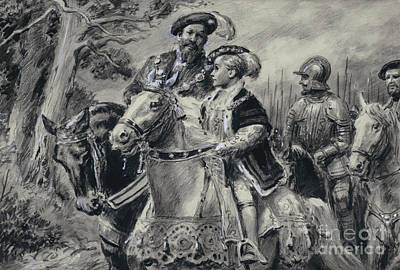 Painting - The Lord Protector, The Duke Of Somerset, Conveys The Young King Edward Vi To Windsor by CL Doughty