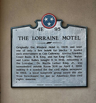 Photograph - The Lorraine Motel Memorial Plaque by Allen Beatty